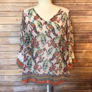 """""""Fig and Flowe"""" floral blouse with lace"""
